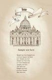 St. Peter katedra, Rzym, Włochy. Sławny punkt zwrotny. Podróży staromodna tapeta. ilustracji