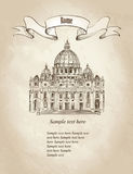 St Peter Kathedraal, Rome, Italië Retro behang van reisvaticat vector illustratie