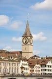 St Peter Landmark de Zurich, céntrico Imagenes de archivo