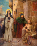 Антверпен - St Peter и гектолитр. Mary держала ламе как часть цикла Josef Janssens от лет 1903 до 1910 в соборе нашего стоковое изображение