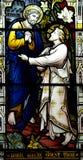 St Peter ontmoet Jesus (gebrandschilderd glas) Stock Foto