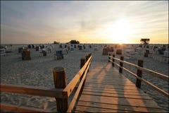 St Peter-Ording de plage de coucher du soleil photos stock