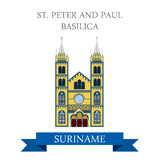 St Peter and Paul Basilica in Suriname vector flat attraction Royalty Free Stock Photos