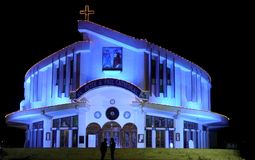 St. Peter and Paul Cathedral, Jabalpur. Was specially illuminated on 20/11/2011 to celebrate special Christian festival. Initially catholic missionaries had Stock Images
