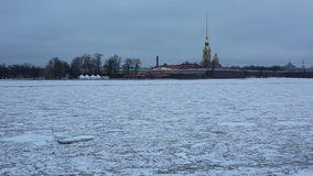 St. Peter and Paul fortress and frozen Neva river in Saint-Petersburg Russia stock footage