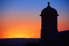 St Peter and Paul Guard tower against backlight of the sunset, V Royalty Free Stock Photography
