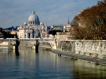 St. Peter, Rome. View on the St. Peter in Rome (Vatican City). The Tiber river in front royalty free stock images