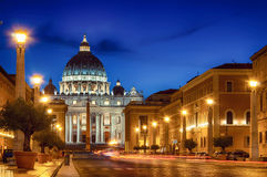St. Peter Rome Night Stockbilder