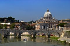 St. peter's basilica. A view to st. peter's basilica from the bridge. Rome, Italy Royalty Free Stock Photo