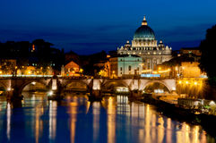 St. Peter's Basilica. Night View of St. Peter's Basilica and the Angels Bridge, Rome, Italy Royalty Free Stock Image