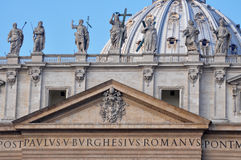 St. Peter's Basilica. Architectural detail of St. Peter's Basilica, Vatican City Royalty Free Stock Image