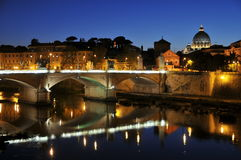 St. Peter's Basilica, bridge and reflection, Rome Royalty Free Stock Photography