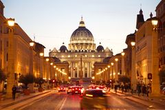 St. Peter's Basilica at dusk, Rome Italy Stock Images