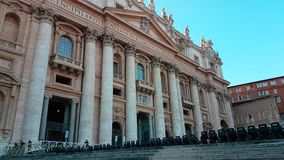 St Peter s Basilica Entrance. Vatican City, Vatican - February 11, 2018: St Peter`s Basilica Entrance. The Papal Basilica of St. Peter is an Italian Renaissance stock video