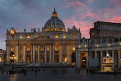 St. Peter`s Basilica in the evening from Via della Conciliazione in Rome. Vatican City Rome Italy. Rome architecture and landmark. St. Peter`s cathedral in stock photos