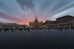 St. Peter`s Basilica in the evening from Via della Conciliazione in Rome. Vatican City Rome Italy. Rome architecture and landmark. St. Peter`s cathedral in royalty free stock images