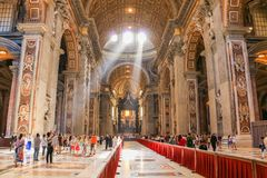 Luxurious interior of St Peter`s Basilica in Vatican City stock image