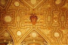 St. Peter`s Basilica narthex gilt ceiling Vatican Stock Photography