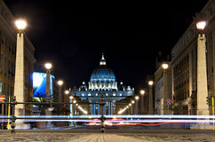St. Peter's Basilica by night. Rome, Italy. St. Peter's Basilica by night Stock Photography