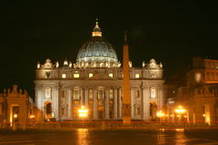 St Peter`s Basilica at night. The front of St Peter`s Basilica in the Vatican City floodlit at night Stock Photography