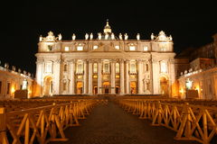 St Peter`s Basilica at night. The front of St Peter`s Basilica in the Vatican City floodlit at night Royalty Free Stock Photos