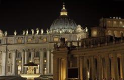 St. Peter's Basilica at night, Rome. Italy Stock Photos