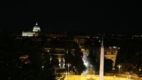 St. Peter`s Basilica in the night stock video footage