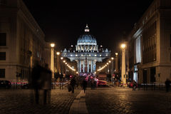 St. Peter's basilica by night Stock Photos