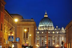St. Peter`s Basilica night view, Rome, Italy. St. Peter`s Basilica night view, Vatican, Rome, Italy Stock Photography