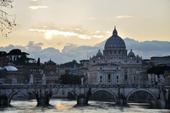 St. Peter's Basilica and Ponte Sant Angelo Stock Photo