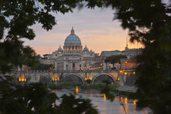 St. Peter's Basilica from the River Tiber Stock Photo