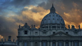 St.Peter`s Basilica In Rome At Sunset stock footage