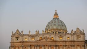 St. Peter's Basilica, before sunrise. Vatican, Ro. Me, Italy. Video stock video footage