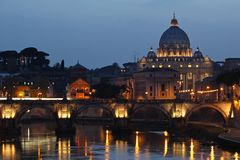 St. Peter's Basilica at sunset. Stock Images