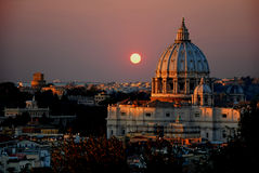 The St Peter's Basilica at sunset - Rome - Italy Royalty Free Stock Images