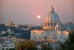 The St. Peter's Basilica at sunset view from the Janiculum Hill Royalty Free Stock Image