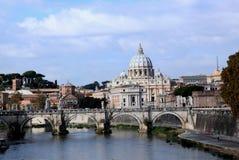 St. Peter's Basilica and Tiber River Stock Photos
