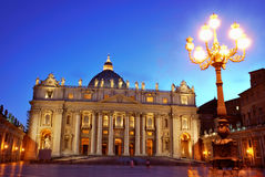 St. Peter's Basilica, Vatican. Saint Peter's Basilica and St. Peter's Square in Vatican, Italy by sunset Stock Photos