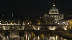 St. Peter's Basilica in Vatican, beautiful view on bridge, evening cityscape. Stock footage stock video