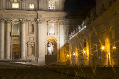 St. Peter's Basilica Vatican City at night Stock Photography