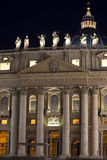 St. Peter's Basilica Vatican City at night Stock Images