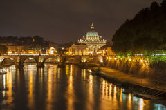 St. Peter's Basilica, Vatican City, by night Stock Photography