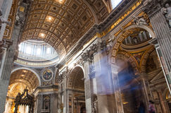 St. Peter& x27;s Basilica - Vatican City, Rome, Italy. Dome in St. Peter& x27;s Basilica and Bernini& x27;s Baldacchino - Vatican City, Rome, Italy Royalty Free Stock Images