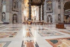St. Peter& x27;s Basilica - Vatican City, Rome, Italy. Dome in St. Peter& x27;s Basilica and Bernini& x27;s Baldacchino - Vatican City, Rome, Italy Royalty Free Stock Image