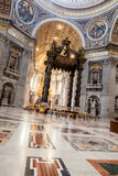 St. Peter& x27;s Basilica - Vatican City, Rome, Italy. Dome in St. Peter& x27;s Basilica and Bernini& x27;s Baldacchino - Vatican City, Rome, Italy Royalty Free Stock Photography
