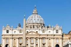 St. Peter`s Basilica and obelisk, Vatican City, Rome, Italy royalty free stock photography