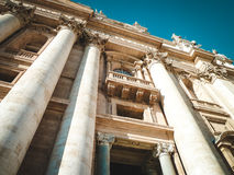 St. Peter's Basilica. View from below. The largest historical Christian church in the world Stock Photos