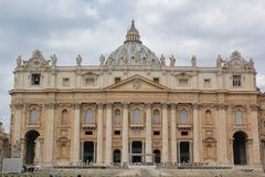 Rome, Italy - September 02, 2017: Beautiful St Peter`s Basilica square on the blue sky and cloud royalty free stock photos