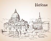 St Peter `s Basiliek De stadslandschap van Vatikaan schets Royalty-vrije Stock Afbeeldingen