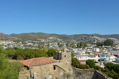 Bodrum, Turkey - 5 September 2017: View of Bodrum city from the Castle of St. Peter stock image